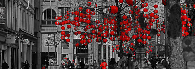 Lanterns in St Annes Square, Manchester, for the Chinese New Year.
